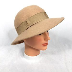 Vintage Tan Made in France Cloche Hat